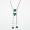 Two by Two Animal Print Snake Necklace Closeup Hearts with Emerald Green Art Glass & Sterling Silver