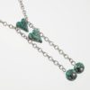 Two by Two Animal Print Snake Necklace Closeup with Emerald Green Art Glass & Sterling Silver