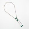 Two by Two Animal Print Turtle Necklace by Vibrant and Sage with Emerald Green Art Glass & Sterling Silver