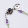 Vibrant Abstraction Necklace Clasp Closeup by Vibrant and Sage with blue and purple Swarovski Crystals and semiprecious stones