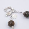 Wild Irises Necklace Clasp Closeup with Art Glass, Gemstones, and Sterling Silver