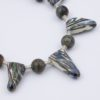 Wild Irises Necklace Closeup with Art Glass, Gemstones, and Sterling Silver