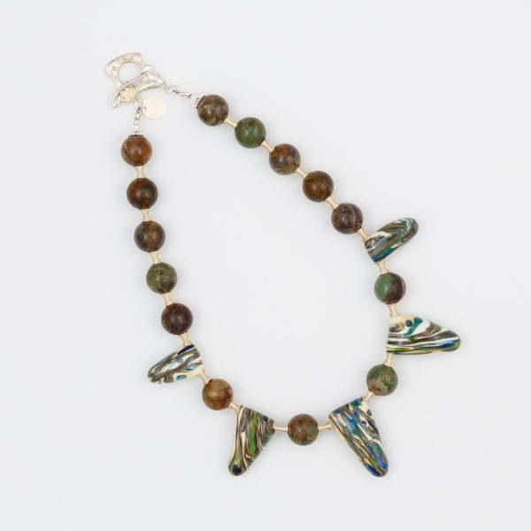 Wild Irises Necklace from Vibrant and Sage with Art Glass, Gemstones, and Sterling Silver