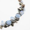 Zipper Necklace Closeup with sky blue and black Swarovski crystals in Sterling Silver