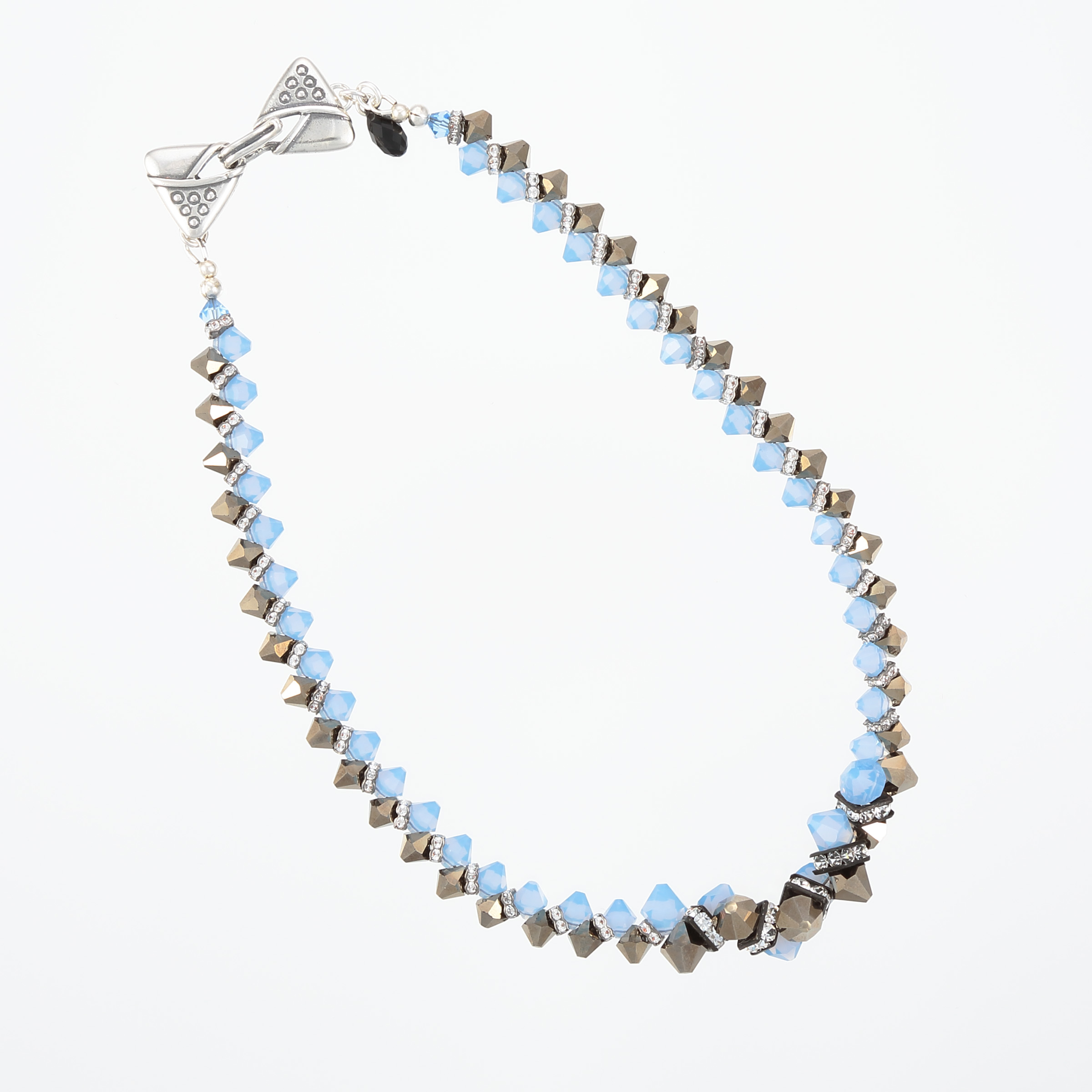 ZIPPER NECKLACE- blue, grey, gun metal Swarovski crystals with unique sterling silver clasp